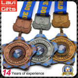 Acabado personalizado antiguo medalla de metal con la cinta