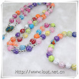 Rosario di plastica multicolore del branello. La plastica borda la collana Chain del rosario del Rhinestone (IO-crs013)