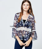 New Arrival OEM ODM V Neck Dose douce ouverte Sexy Lady Chiffon Blouse
