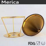 Dispositivo di gocciolamento dorato del caffè dell'acciaio inossidabile