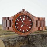 Relógio de madeira personalizado da sandália vermelha do fecho do aço inoxidável do logotipo