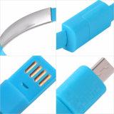 팔찌 편평한 작풍 이동 전화를 위한 마이크로 USB 휴대용 비용을 부과 데이터 케이블