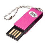 Mini palillo del USB del mecanismo impulsor del flash del USB del eslabón giratorio del metal con insignia