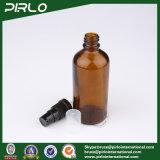 botellas de cristal ambarinas del aerosol 100ml con el rociador negro de la loción