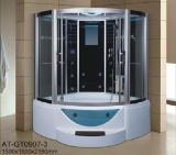 sauna de vapeur de noir de secteur de 1500mm avec le jacuzzi et le Tvdvd (AT-GT0907)