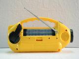 Rádio solar do dínamo da luz Emergency do diodo emissor de luz do material do ABS de Protable