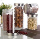 Rundes Glasnahrungsmittelspeicher-Glas mit Edelstahl-Kappe