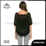 女性のための短い袖のかぎ針編みの花の模造された黒い上