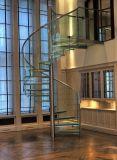Escadaria espiral de vidro interior do aço inoxidável de projeto moderno para o sótão