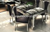 Tabella pranzante di vetro moderna e presidenza del metallo del blocco per grafici popolare dell'acciaio inossidabile
