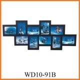 черный деревянный комплект рамки фотоего стены 10-Opening вися, домашние искусствоа стены декора (WD10-91B)
