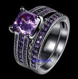 De zwarte Geplateerde Geplaatste Ringen van de Juwelen van CZ van de Kleur (R0848)