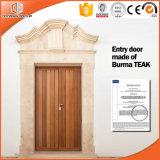 Porte en bois intérieure en bois de teck solide cher, porte en bois de qualité de constructeur en bois de porte