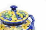 Plaque en céramique de portion de grès d'assurance qualité avec le bleu et le jaune