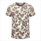 Round Collar Peacock Plume & Papillon Graphic Short Sleeve Cotton Casual Tee
