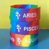Abitudine Wristband del silicone di stampa di colore del Rainbow da 1 pollice