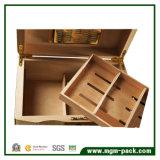 Cèdre à extrémité élevé en bois avec la boîte à cigares de mémoire de tiroir de plateau