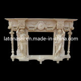 Beige Marble Stone Carved Fireplace Surround Mantel für Indoor
