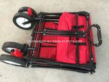 Красный цвет складывая сподручную фуру с сенью и тормозным колесом