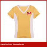カスタム設計しなさい印刷Vの首の女性のTシャツ(R87)を