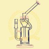 Tubos de cristal del vidrio del cenicero del arte del tazón de fuente alto del color del tabaco del reciclador de la alta calidad del tubo de agua del vidrio del tabaco de la ducha del Birdcage de la bola del cráneo del panal de Adustable que fuman
