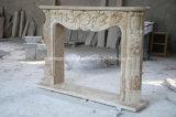 Camino beige Sy-309 del marmo del travertino intagliato mano antica