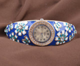 Alloy Diamond Sunflower Blue Enamel Traditional Handicraft Hand-Made Watch