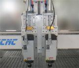 Macchina automatica di legno di CNC del commutatore dello strumento dei due assi di rotazione