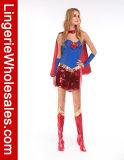 Supergirl Halloween 파티복 Cosplay 섹시한 파랗고와 빨강 복장