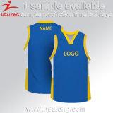 Modèle réglé d'équipe de basket faite sur commande uniforme du Jersey de basket-ball de la jeunesse d'université