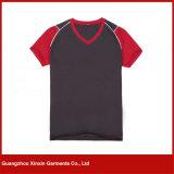 Concevoir le T-shirt en fonction du client de femmes de collet de l'impression V (R87)