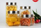 Tarro de cristal hecho a máquina con el clip/el tarro de cristal del almacenaje, envase del metal de almacenaje del alimento