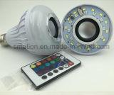 Musique sans fil d'ampoule de Bluetooth des haut-parleurs secs 12W E27 DEL Bluetooth de musique jouant la lumière de la bille RVB avec à télécommande