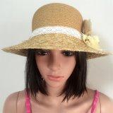 100% бумаги соломенной шляпе, Мода Контраст Col Стиль с цветами Украшение
