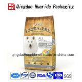 Stellung des oben lamellierten Nahrung- für Haustiereverpackenbeutels