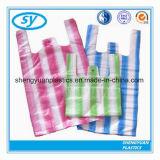 Haltbarer Farben-Streifen-Shirt-Plastikbeutel für das Einkaufen