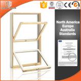 Double guichet arrêté en aluminium plaqué en bois, modèles en bois de châssis de fenêtre avec le plein gril léger divisé