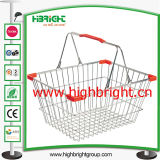 Handle en plastique Metal Wire Shopping Basket avec Plastic Tray