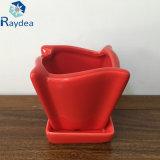 POT di fiore di ceramica rosso di lucentezza per la piantatrice del giardino
