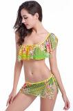 Reizvolles Schal-Schulter-Bikini-Gelb blüht Drucke