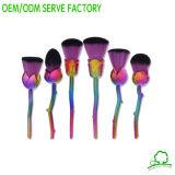La beauté faciale de balai de produits de beauté de poudre de cheveu de ventilateur de balais colorés professionnels de renivellement usine Brochas Maquillaje, ventilateur facial