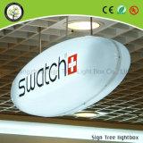 Alte cornici acriliche di alluminio luminose che fanno pubblicità alla casella chiara rotonda del LED