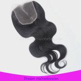 Cierre peruano 100% del pelo de la onda del cuerpo de la virgen al por mayor sin procesar 4 * 4inch