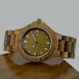 Relógio de madeira da sandália do verde do fecho do aço inoxidável
