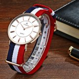Japan Movt. Stainless Steel Classical Nylon Band Hommes Ladies Watch, Slim Nato Nylon Bracelet Dw Style Montres 72421