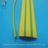 Tuyau thermorétractable thermorétractable thermorétractable jaune et vert pour conduit de câblage