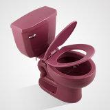 Tocador de dos piezas de Siphonic del precio barato de la porcelana, rojo purpurino