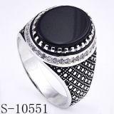 مصنع [هوتسل] 925 فضة مجوهرات حلقة مع عقد أسود