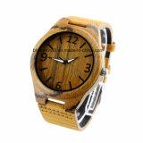 Relógio ocasional preto da cinta de couro do couro dos relógios de madeira do Mens para o presente