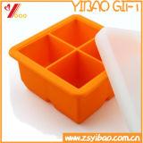 O Kitchenware faz faz a 4 grandes cubos extra a bandeja quadrada do cubo de gelo do silicone